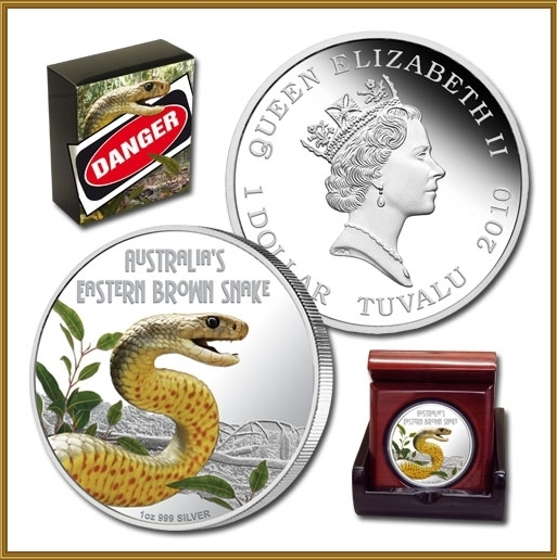 Thumbnail for 2010 Tuvalu Australian Eastern Brown Snake - 1oz Coloured Silver Proof