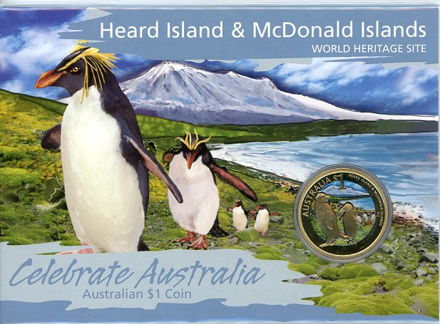 Thumbnail for 2010 Celebrate Australia Coloured Uncirculated $1 - Hear Island & McDonald Islands