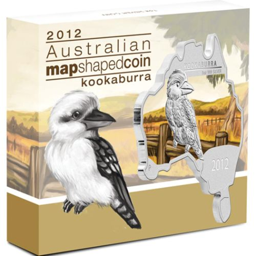 Thumbnail for 2012 Australian Map Shaped Coloured 1oz Silver Coin - Kookaburra