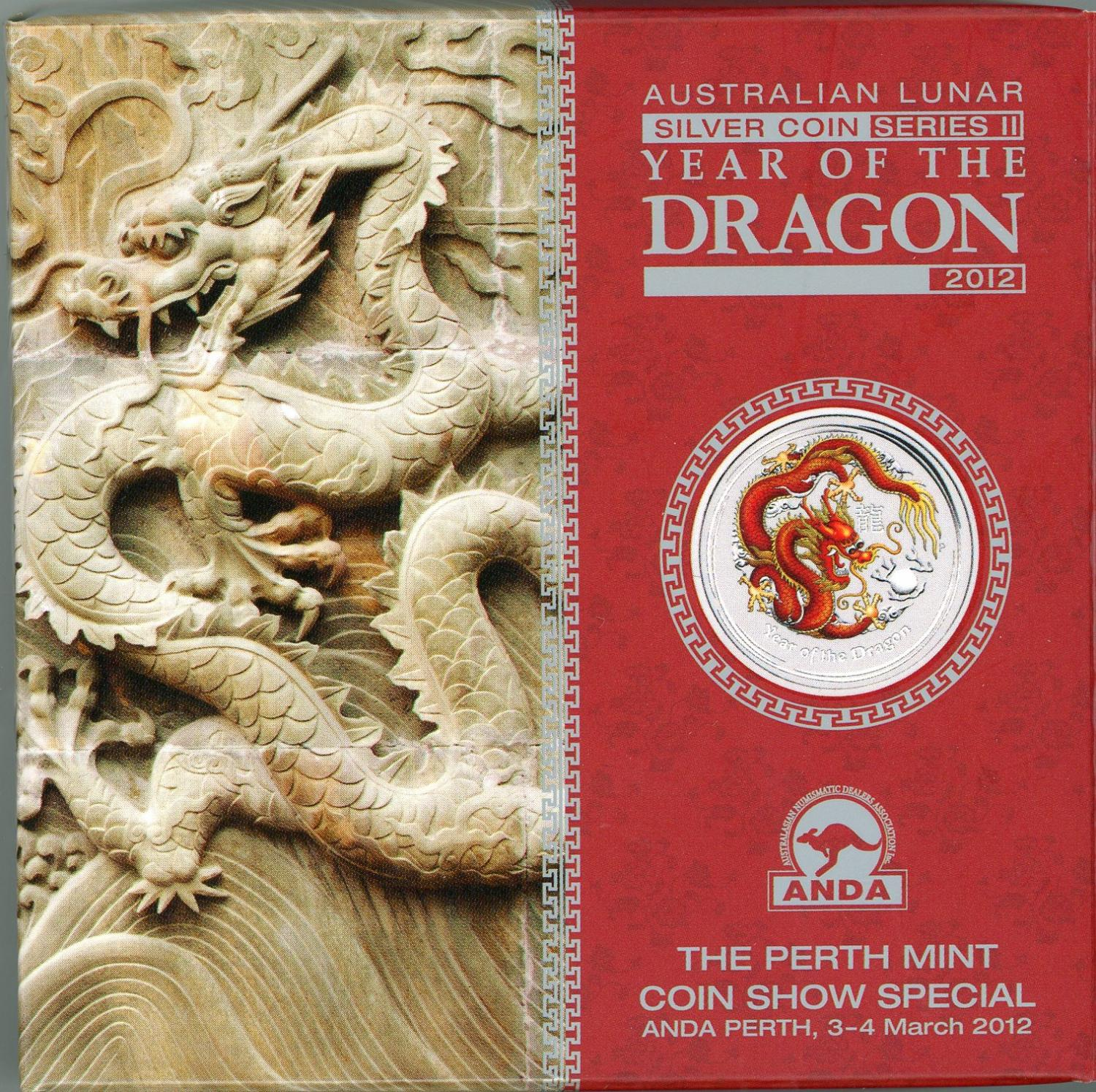 Thumbnail for 2012 Year of the Dragon 2oz Coloured Silver Edition - ANDA Perth Show