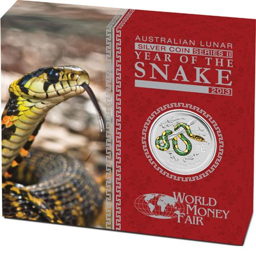 Thumbnail for 2013 Australian Coloured 1oz Silver Proof Coin - Year of the Snake World Money Fair Edition