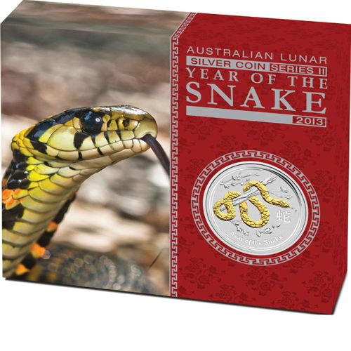 Thumbnail for 2013 Australian 1oz Gilded Silver Coin - Year of the Snake