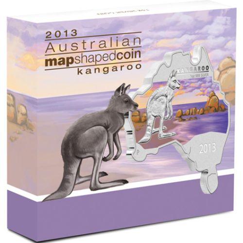 Thumbnail for 2013 Australian Map Shaped Coloured 1oz Silver Coin  - Kangaroo