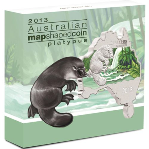 Thumbnail for 2013 Australian Map Shaped Coloured 1oz Silver Coin  - Platypus