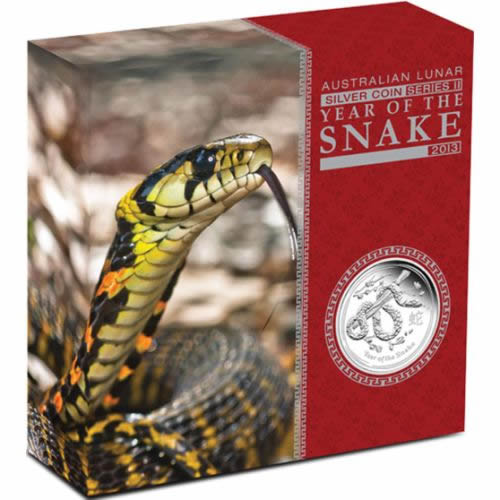 Thumbnail for 2013 Australian Lunar Series II Year of the Snake 5oz Silver Proof Coin