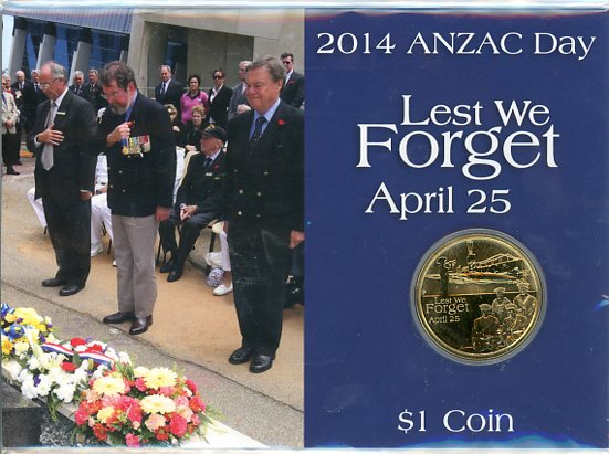 Thumbnail for 2014 Anzac Day Lest We Forget $1 UNC