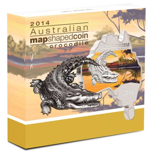 Thumbnail for 2014 Australian Map Shaped Coloured 1oz Silver Coin  - Crocodile