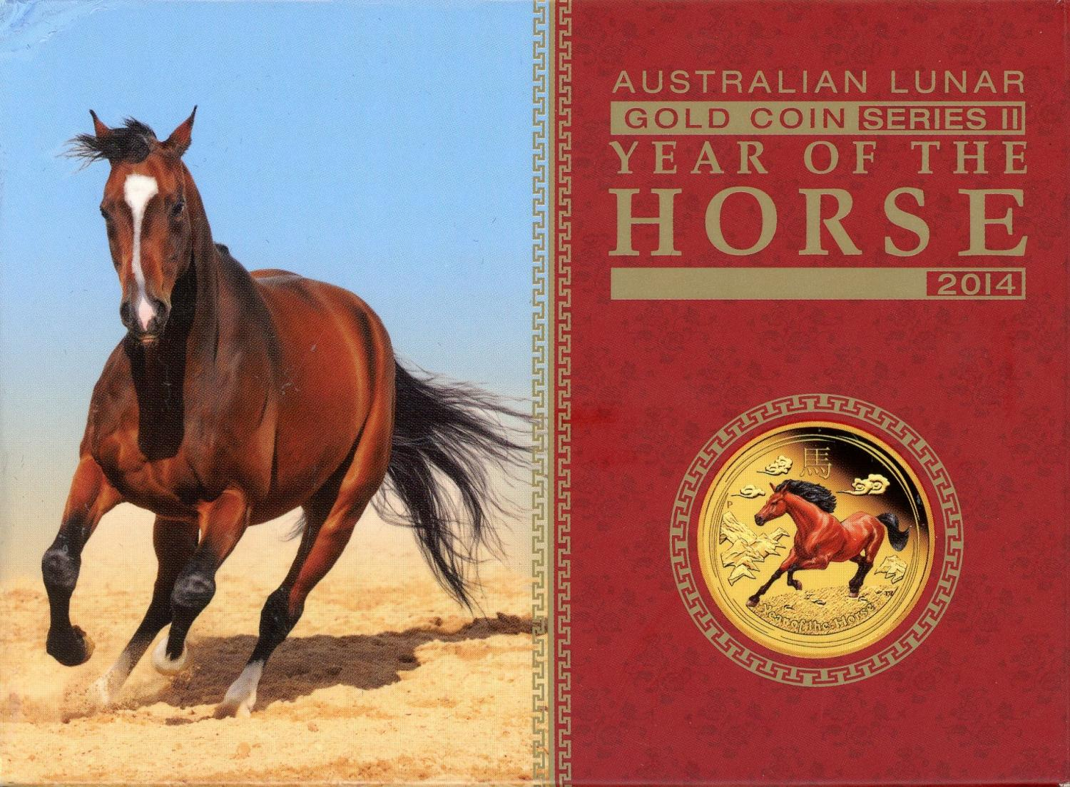 Thumbnail for 2014 Australian One Quarter oz Coloured Gold Coin - Year of the Horse