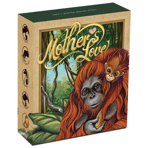 Thumbnail for 2014 Tuvalu Coloured Proof Fifty Cent Mothers Love - Orangutan