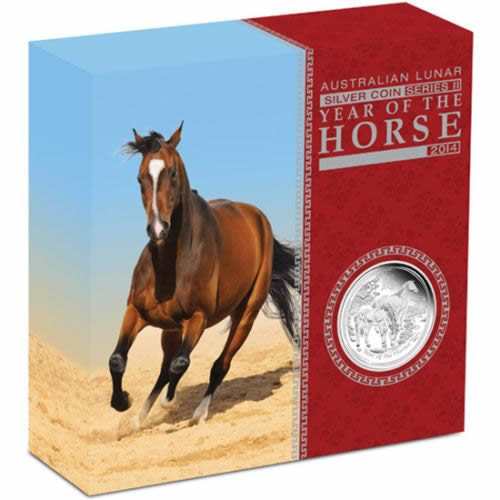 Thumbnail for 2014 Australian Lunar Series II Year of the Horse 5oz Silver Proof Coin