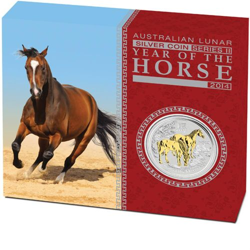 Thumbnail for 2014 Australian 1oz Silver Gilded Edition - Lunar Year of the Horse