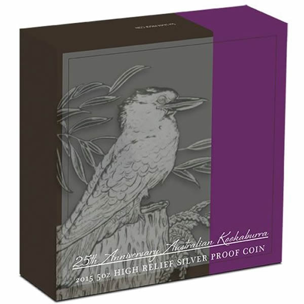 Thumbnail for 2015 5oz Silver Proof High Relief Australian Kookaburra - 25th Anniversary
