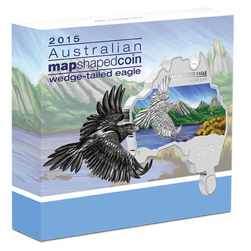 Thumbnail for 2015 Australian Map Shaped Coloured 1oz Silver Coin  Wedge-Tailed Eagle