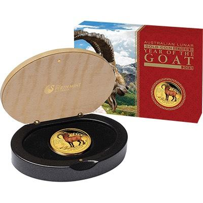 Thumbnail for 2015 Australian One Quarter oz Coloured Gold Proof Coin - Year of the Goat