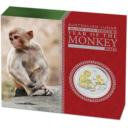 Thumbnail for 2016 Australian 1oz Gilded Silver Coin - Year of the Monkey