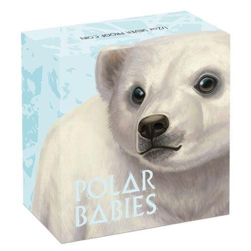 Thumbnail for 2017 Tuvalu Coloured Proof Fifty Cent Polar Babies - Polar Bear