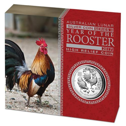 Thumbnail for 2017 1oz Silver Proof High Relief Coin - Australian Lunar Series II Year of the Rooster