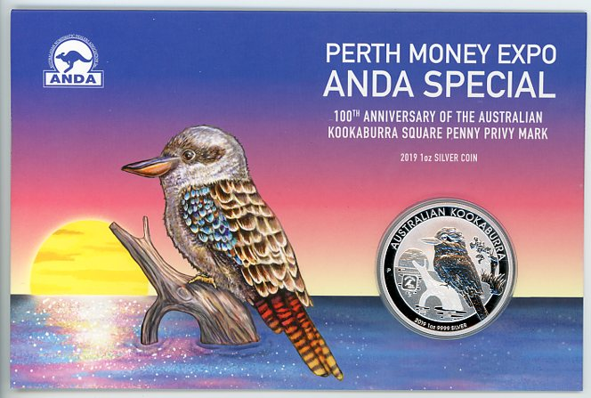 Thumbnail for 2019 1oz Silver Coin - 100th Anniversary of the Australian Kookaburra Square Penny Privy Mark