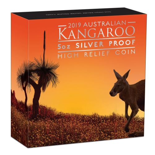Thumbnail for 2019 Australian Kangaroo 5oz Silver Proof High Relief Coin
