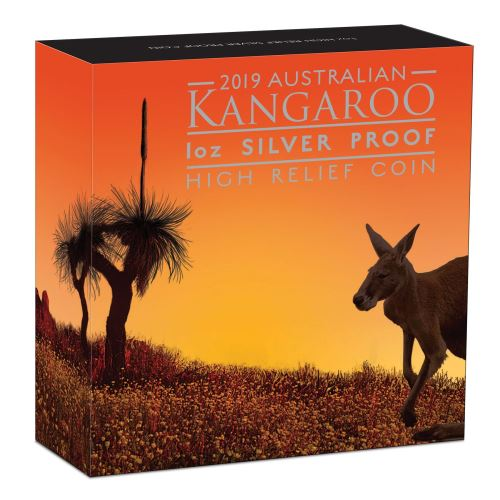 Thumbnail for 2019 Australian Kangaroo 1oz Silver Proof High Relief Coin