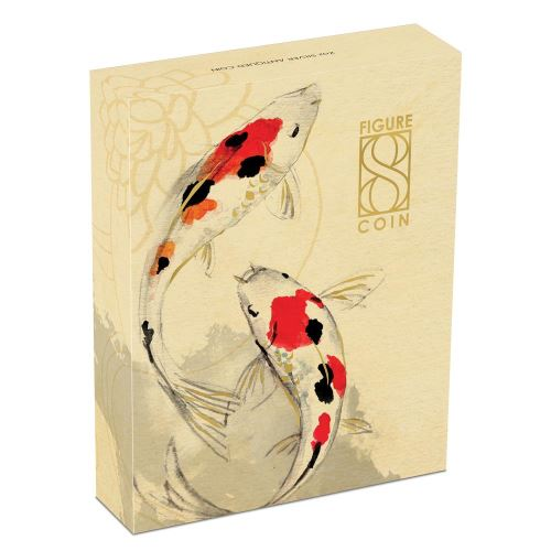 Thumbnail for 2019 Australian Figure Eight Koi Fish 2oz Silver Antiqued Coin