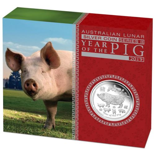 Thumbnail for 2019 Australian 1oz Silver Proof - Year of the Pig