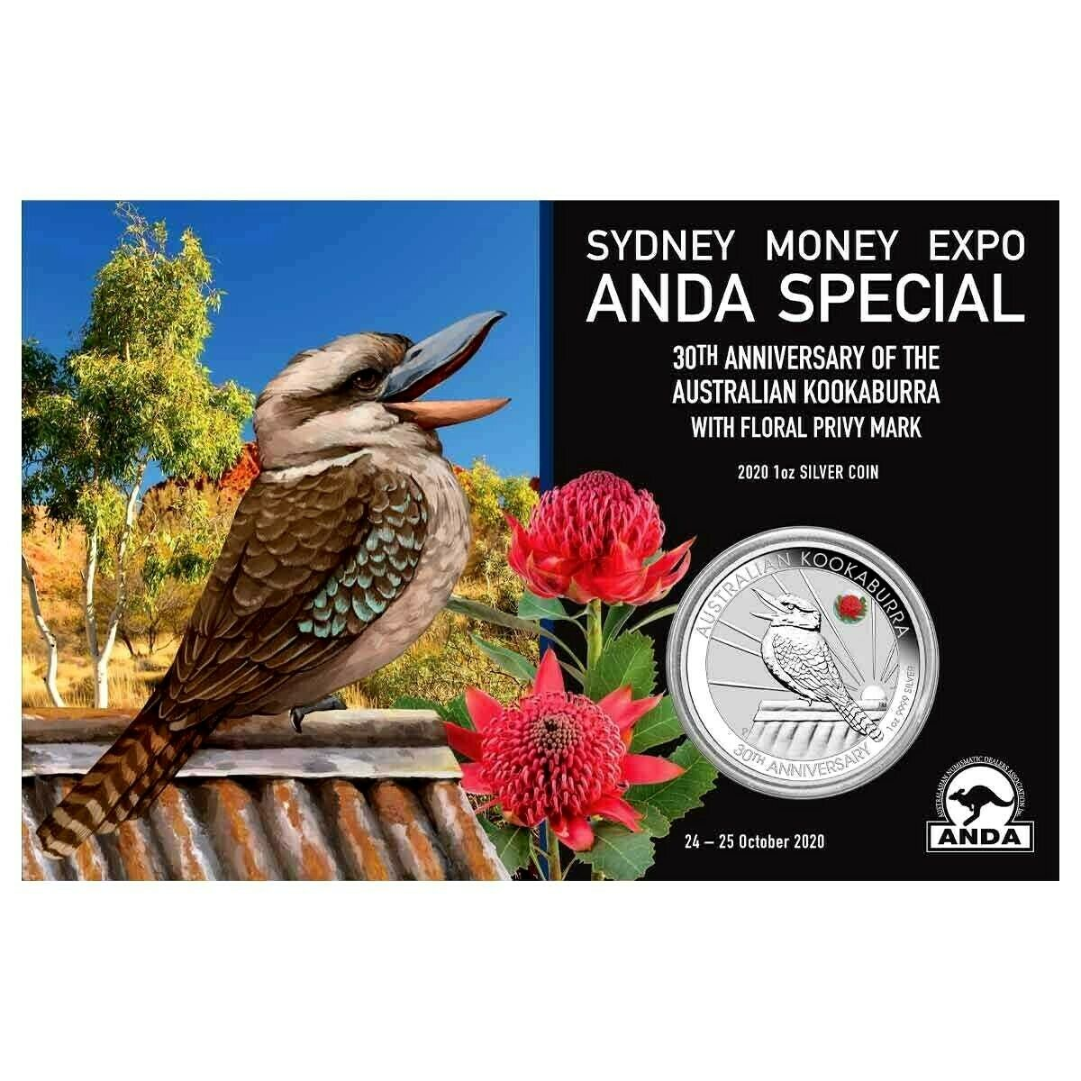 Thumbnail for 2020 Sydney ANDA Expo Special 30th Anniversary Australian Kookaburra 1oz Silver Coin with Floral Privy Mark