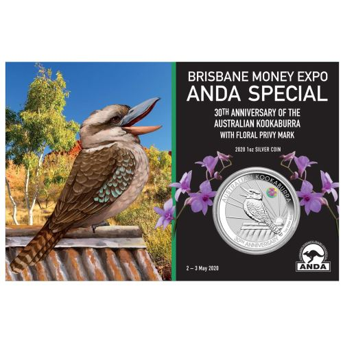 Thumbnail for 2020 Brisbane ANDA Expo Special 30th Anniversary Australian Kookaburra 1oz Silver Coin with Cooktown Orchid Privy