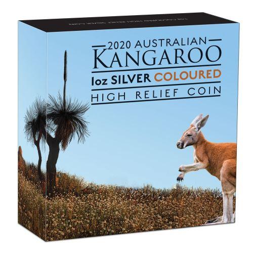 Thumbnail for 2020 1oz Silver Coloured High Relief Coin - Australian Kangaroo