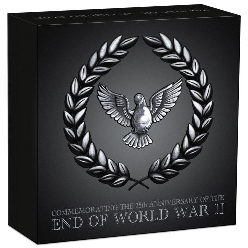 Thumbnail for 2020 2oz Silver Antiqued Coin - 75th Anniversary of The End of WWII