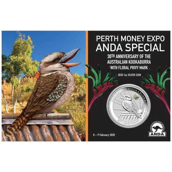 Thumbnail for 2020 Perth ANDA Expo Special 30th Anniversary Australian Kookaburra 1oz Silver Coin with Kangaroo Paw Privy