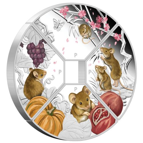 Thumbnail for 2020 Year of the Mouse Quadrant 1oz Coloured Silver Proof Four-Coin Set