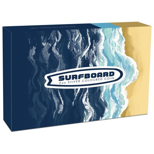 Thumbnail for 2020 2oz Silver Coloured Coin - Surfboard