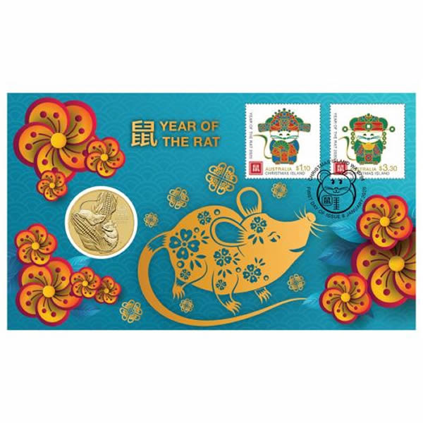 Thumbnail for 2020 Year of the Rat Stamp and Coin Cover PNC