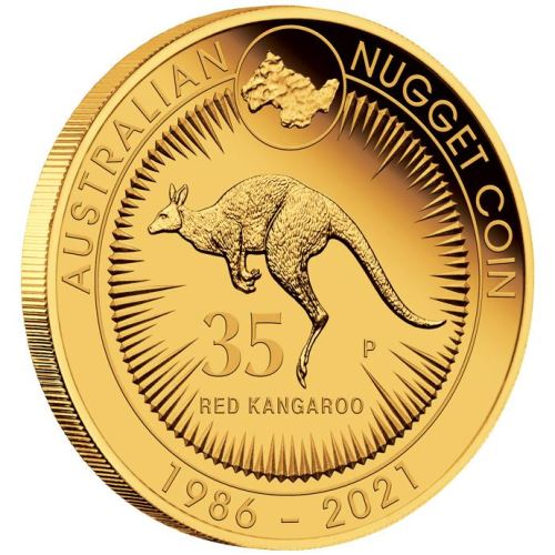 Thumbnail for 2021 35th Anniversary of the Australian Kangaroo Nugget Quarter oz Gold Proof Coin