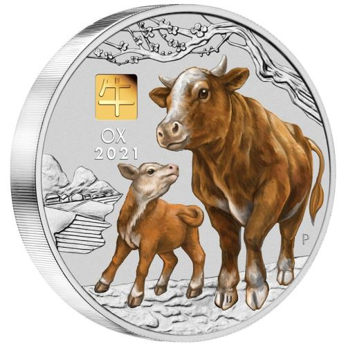 Thumbnail for 2021 Australian Lunar Series III Year of the Ox 1 Kilo Silver Coin with Gold Privy Mark