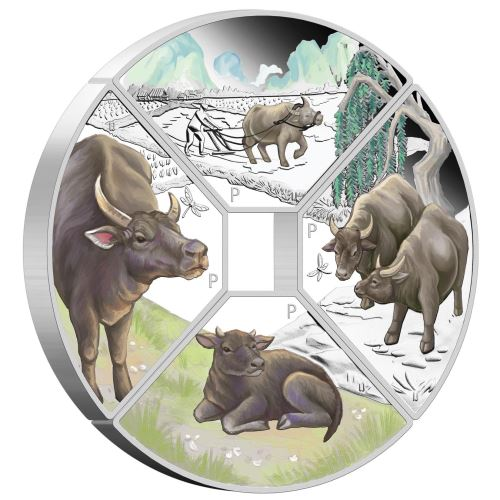 Thumbnail for 2021 Year of the Ox Quadrant 1oz Coloured Silver Proof Four-Coin Set