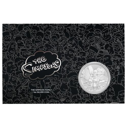 Thumbnail for 2021 $1 The Simpsons Family 1oz Silver Coin in Card - Tuvalu 99.99% Pure Silver