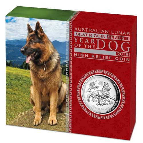 Thumbnail for 2018 Australian 1oz High Relief Year of the Dog Proof