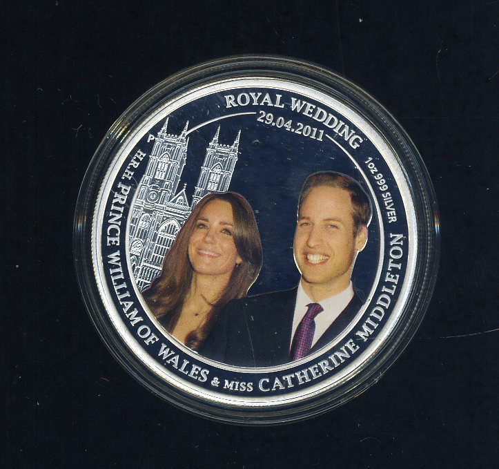 Thumbnail for 2011 Royal Wedding H.R.H. Prince William of Wales and Catherine Middleton Coloured 1oz Silver Proof Coin