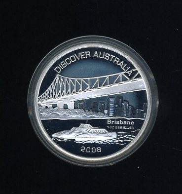 Thumbnail for 2008 Discover Australia 1oz Coloured Silver Proof Coin - Brisbane