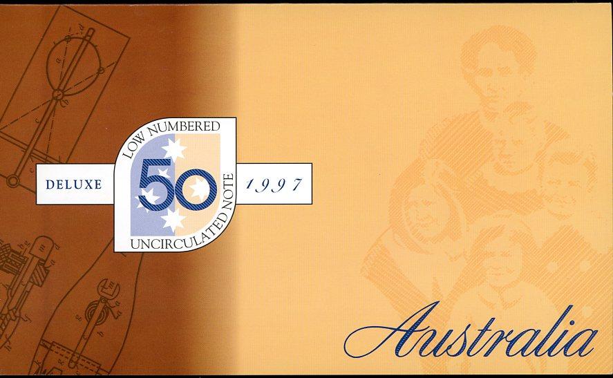Thumbnail for 1997 $50 1st Prefix AA97 005052 in NPA Folder