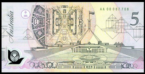 Thumbnail for 1992 $5 1st Prefix AA00 087708 UNC