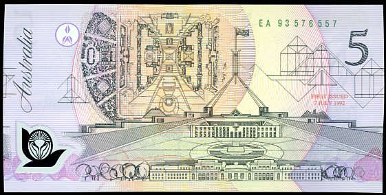 Thumbnail for 1993 $5 Last Prefix EA93 576557 UNC