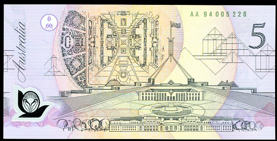 Thumbnail for 1994 $5 1st Prefix AA94 005226 UNC