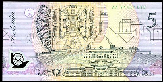 Thumbnail for 1994 $5 First Prefix AA94 004035 UNC