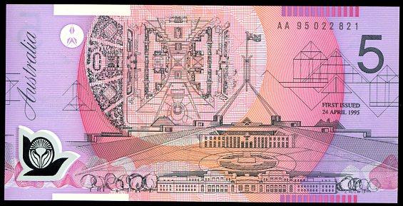Thumbnail for 1995 $5 1st Prefix AA95 022821 UNC