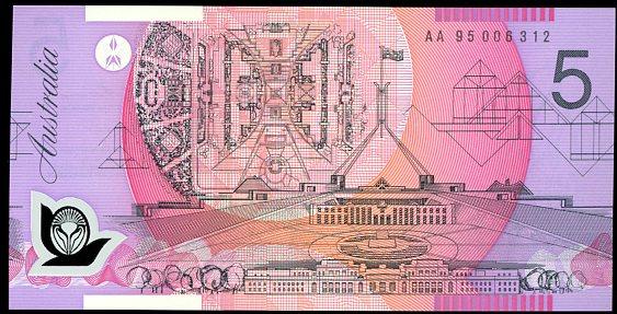 Thumbnail for 1995 $5 Fraser-Evans 1st Prefix AA95 006312 UNC