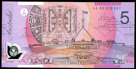 Thumbnail for 1995 $5 Fraser-Evans 1st Prefix AA95 029007 UNC
