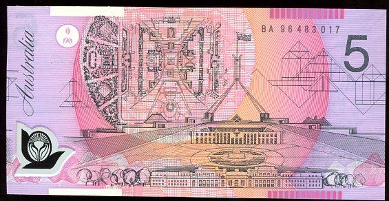 Thumbnail for 1996 $5 Fraser-Evans 1st Prefix BA96 483017 UNC